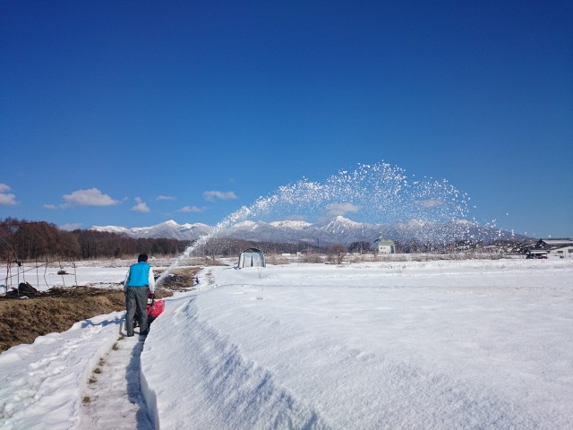 除雪機にて境界立会の準備